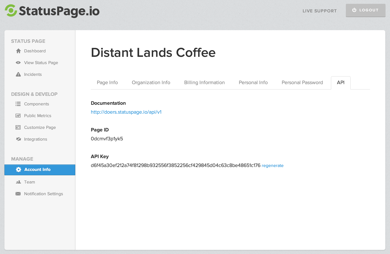Statuspage - Documentation - API Authentication